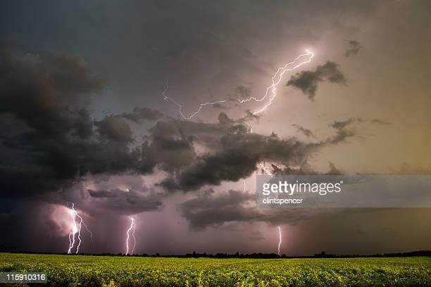 A series of lightning storms seen from the horizon