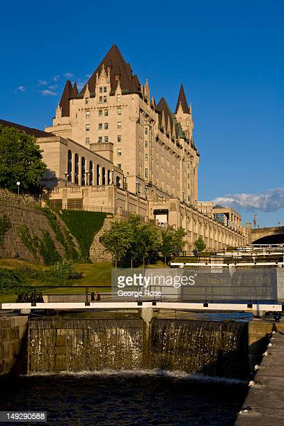 A series of locks next to the Fairmont Chateau Laurier flow from the Rideau Canal into the Ottawa River on June 30 2012 in Ottawa Canada Ottawa the...