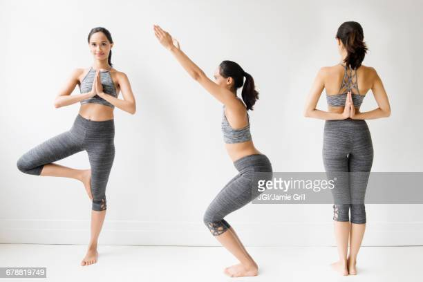 Series of Mixed Race woman doing yoga poses