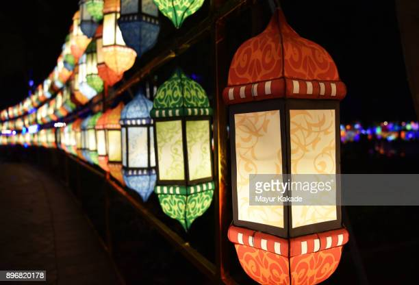 series of multi-colored lanterns - diwali celebration stock photos and pictures