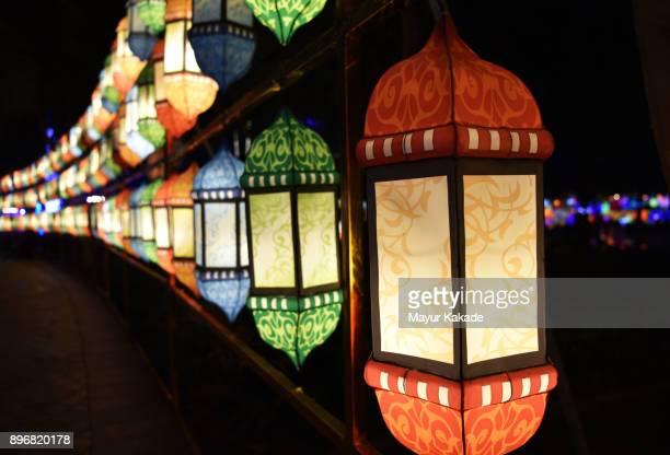 Series of Multi-colored Lanterns