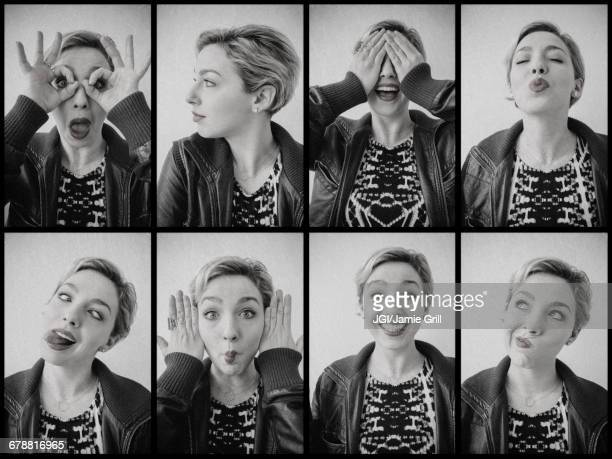Series of photographs of Caucasian woman from photo booth