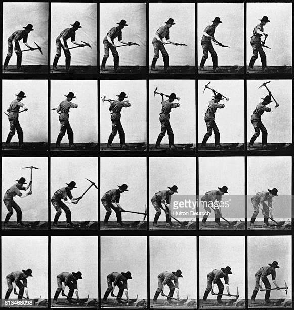 A series of photographs shows a man swinging a pickaxe