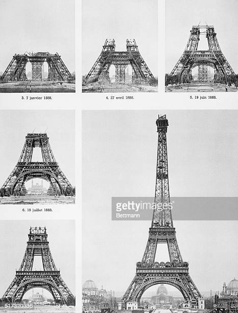 A series of photographs shows the construction of the Eiffel Tower in Paris France The tower is 984 feet and was built for the Paris Exposition of...
