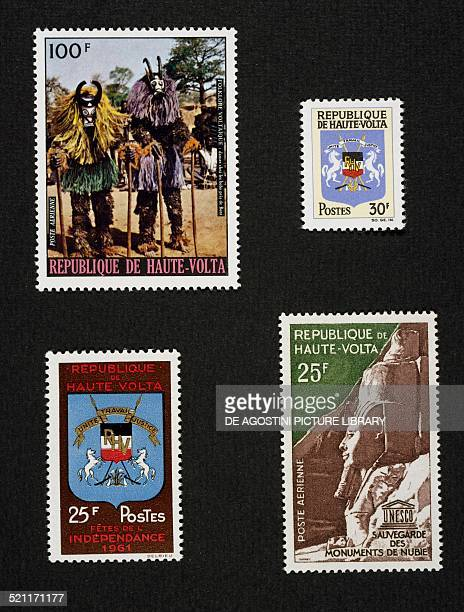 Series of postage stamps from Upper Volta honouring Ritual dances with Sorcerers dance the Nation's coat of arms Independence Day and Save the Nubian...