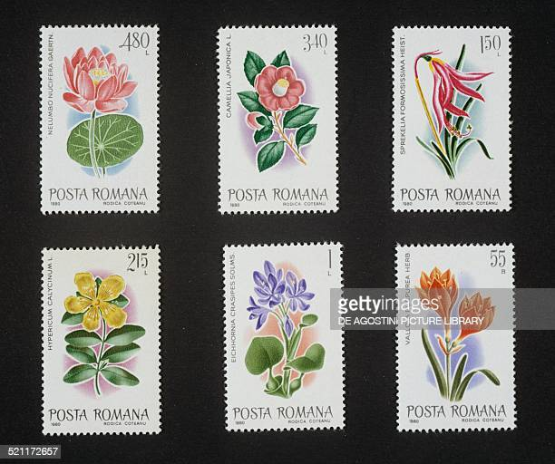 Series of postage stamps honouring Exotic flora 1980 top Lotus and Japanese camellia centre Aztec lily and St John's Wort bottom Water hyacinth and...