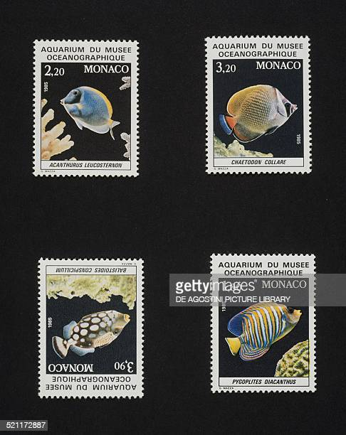 Series of postage stamps honouring the Aquarium of the Oceanographic museum depicting tropical fish top from left Surgeonfish and Pakistan...