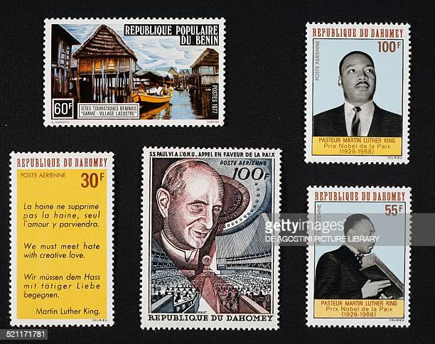 Series of postage stamps honouring Tourist locations in the Republic of Benin the village of Ganvie top right and bottom left and right series of...