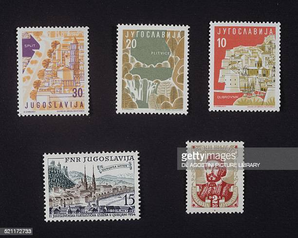 Series of postage stamps honouring Yugoslavian tourust locations top from left Split Plitvice and Dubrovnik bottom from left Second National...