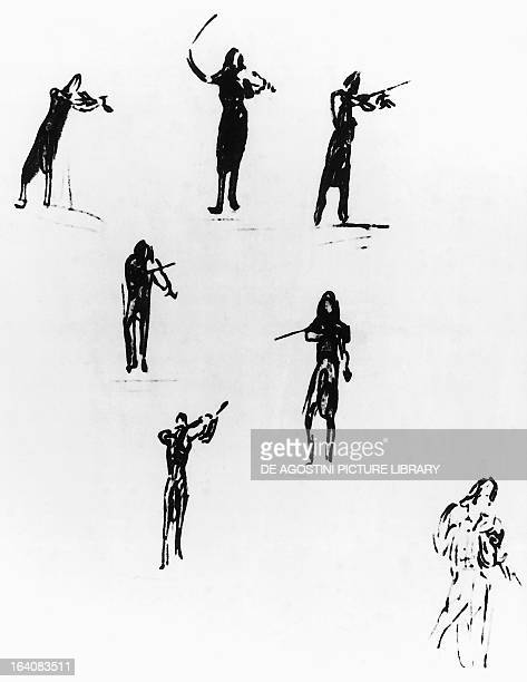 Series of silhouettes portraying Niccolo' or Nicolo' Paganini Italian violinist and composer attributed to Johann Peter Lyser