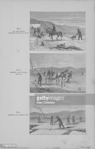 A series of small engraving depicting the initial stages of ice manufacture beginning with ice harvesting sawing and cutting