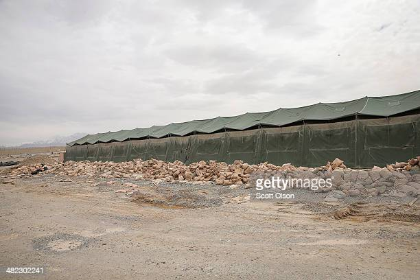 A series of tents once used as a dining facility sit abandoned in an area on Forward Operating Base Shank that is no longer used due to a shrinking...