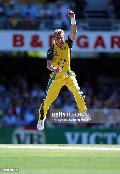 VB Series One Day International Cricket match at the Gabba between Australia and West Indies Images shows Australian Pace Bowler Brett Lee claiming...