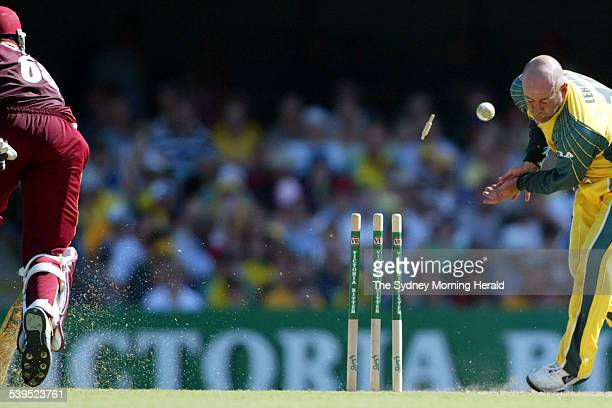 VB Series One Day International Cricket match at the Gabba between Australia and West Indies West Indies batsman Wavell Hinds making it to the crease...