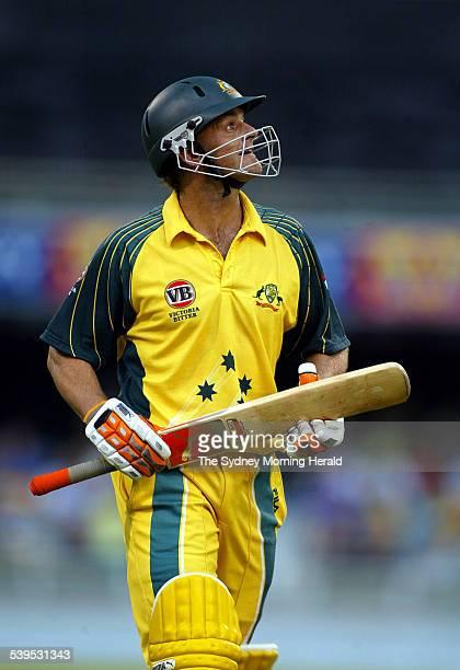 VB Series One Day International Cricket match at the Gabba between Australia and West Indies on 21 January 2005 Austrlain batsman Adam Gilchrist...