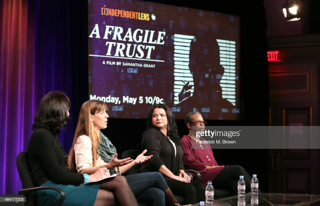 Series Producer Lois Vossen, filmmaker Samantha Grant, Macarena Hernandez and writer/author Lena Williams speak onstage during the ' Independent Lens/'A Fragile Trust' 'panel discussion at the PBS portion of the 2014 Winter Television Critics Association tour at Langham Hotel on January 21, 2014 in Pasadena, California.