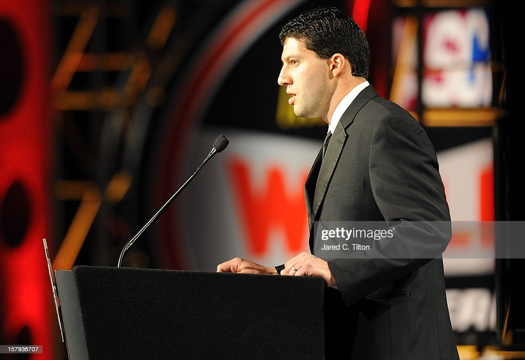 Series runner-up, Keith Rocco speaks during the NASCAR Whelen All-American Series Awards in the Charlotte Convention Center at the NASCAR Hall of Fame on December 7, 2012 in Charlotte, North Carolina.