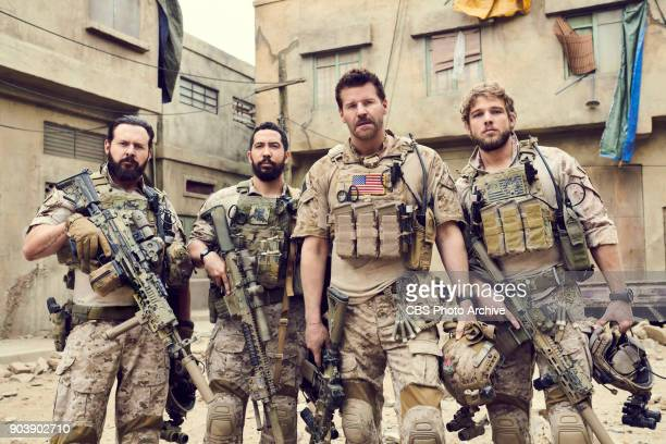 CBS series SEAL TEAM scheduled to air on the CBS Television Network Pictured left to right AJ Buckley Neil Brown Jr David Boreanaz and Max Thieriot