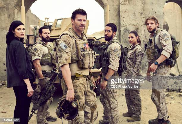 CBS series SEAL TEAM scheduled to air on the CBS Television Network Pictured left to right Jessica Paré AJ Buckley David Boreanaz Neil Brown Jr Toni...
