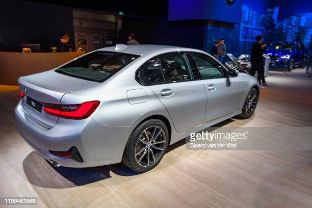 Series sedan on display at Brussels Expo on January 9 2020 in Brussels Belgium The current generation of BMW 3 Series cars consists of the BMW G20...