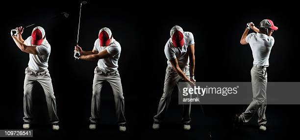 series shot of man swinging golf club on black - golf swing stock pictures, royalty-free photos & images