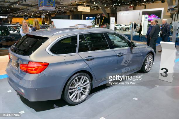 Series Touring estate car rear view on display at the BMW stand at Brussels Expo on January 13 2017 in Brussels Belgium The 5door estate/wagon is...