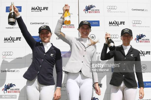Series winner Rose Alfeld with runner up Samantha Morrison and third placed Emily Hayward during the FEI NZ World Cup League Final on January 14 2018...