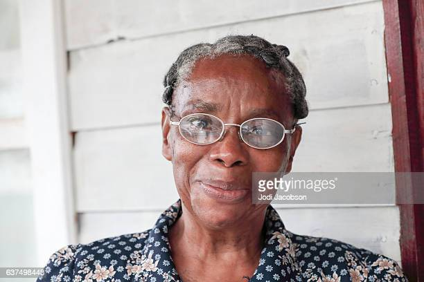 Series:Smiling Honduran senior woman wearing glasses
