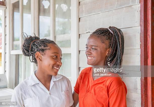 series:two teenage honduran girls from roatan - honduras stock pictures, royalty-free photos & images