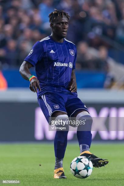 Serigne Mbodj of RSC Anderlecht during the UEFA Champions League group B match between RSC Anderlecht and Paris Saint Germain on October 18 2017 at...