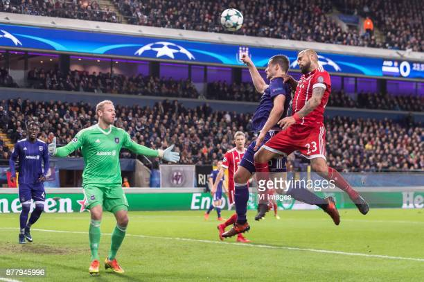 Serigne Mbodj of RSC Anderlecht goalkeeper Matz Sels of RSC Anderlecht Uros Spajic of RSC Anderlecht Arturo Vidal of FC Bayern Munich during the UEFA...
