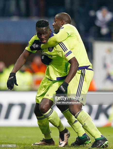 Serigne Modou Kara Mdodji of Anderlecht celebrates scoring his team's first goal with his team mate Stefano Okaka Chuka during the UEFA Europa League...