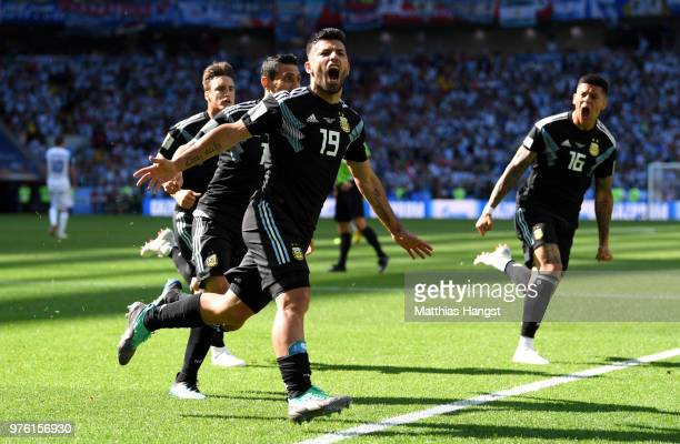 Serigo Aguero celebrates after scoring his team's first goal during the 2018 FIFA World Cup Russia group D match between Argentina and Iceland at...