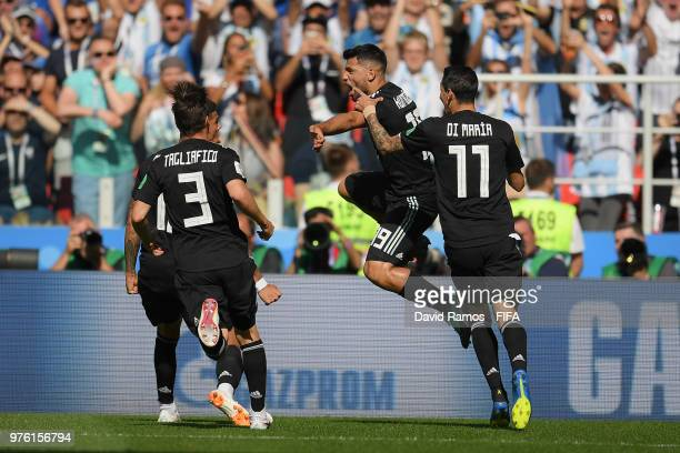 Serigo Aguero of Argentina celebrates after scoring his team's first goal during the 2018 FIFA World Cup Russia group D match between Argentina and...