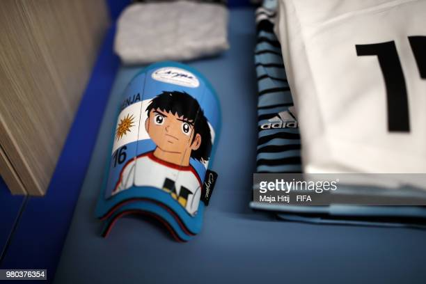 Serigo Aguero's shinpads are seen in the Argentina dressing room prior to the 2018 FIFA World Cup Russia group D match between Argentina and Croatia...