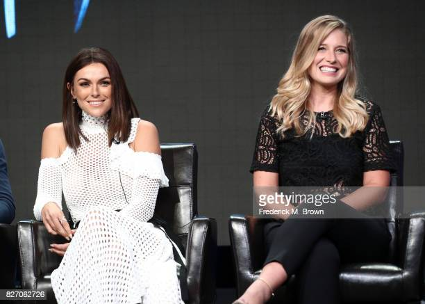 "Serinda Swan and Ellen Woglom of ""Inhumans"" speak onstage during the Disney/ABC Television Group portion of the 2017 Summer Television Critics..."