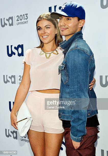 Serinda Swan and Manny Montana attend the USA Network 2013 Upfront event at Pier 36 on May 16 2013 in New York City
