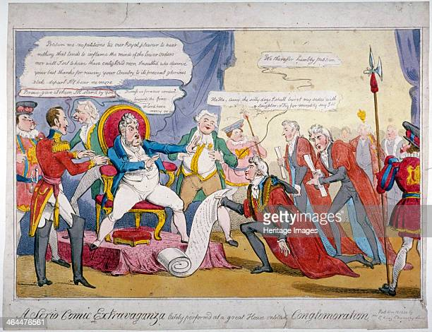 'A serio comic extravaganza' 1820 George IV seems to be dismissing a petition from the Lord Mayor John Thomas Thorp introduced by Alderman Matthew...