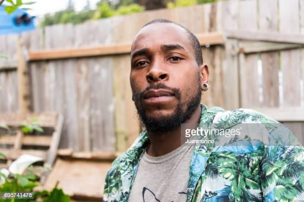 serious afro caribbean young man