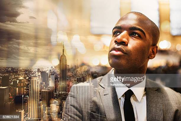 serious afroamerican businessman in manhattan