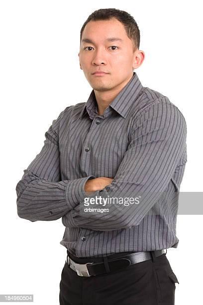Serious Asian Man Crosses Arms