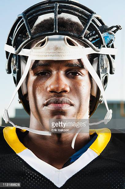 Serious Black football player