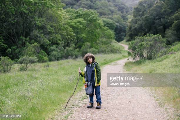 serious boy with walking stick by tail path on natural park - petaluma stock pictures, royalty-free photos & images