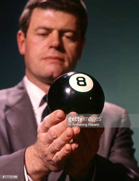 Serious Businessman Behind Black White 8 Eight Ball Power Position.