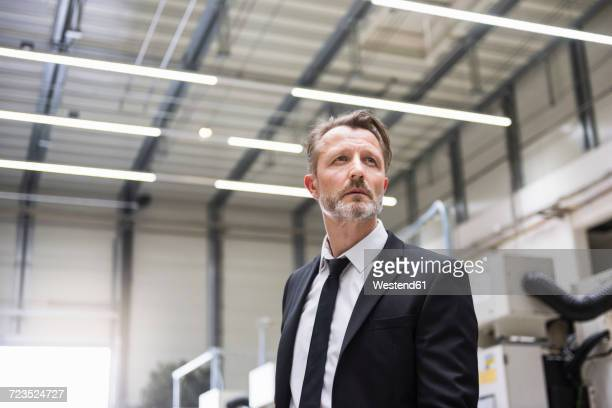 serious businessman in factory shop floor - aufnahme von unten stock-fotos und bilder