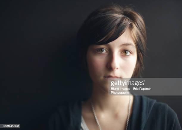 Serious Caucasian teenager