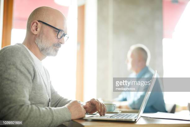 serious concentrated senior male freelancer with beard and mustache sitting at table and working with laptop in public place - e learning stock photos and pictures