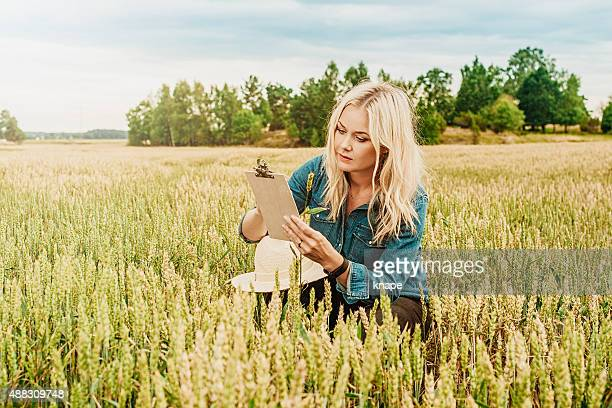 Serious female agronomist researching the agriculture field