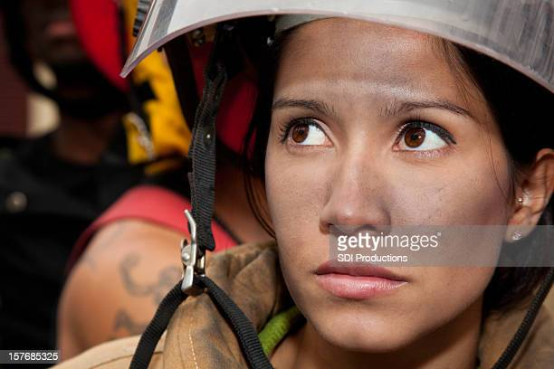 Serious Female Firefighter Portrait, After Working on a Fire
