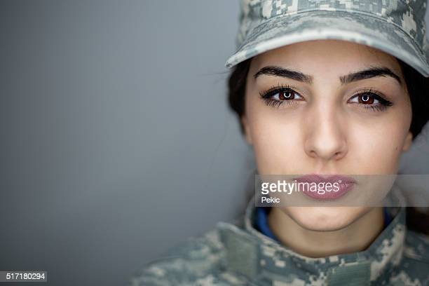 Serious female soldier
